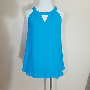 Express Blue Camisole With Neckline Cutout